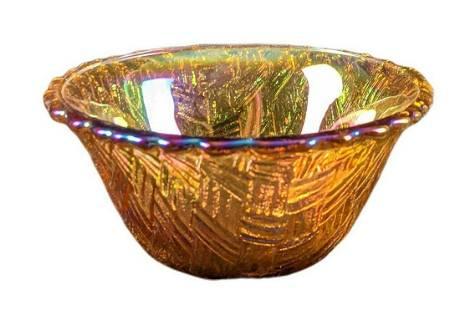 Vintage Basket Pattern Amber Iridescent Glass Bowl