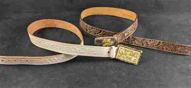 Leather Belts With Decorative Buckles