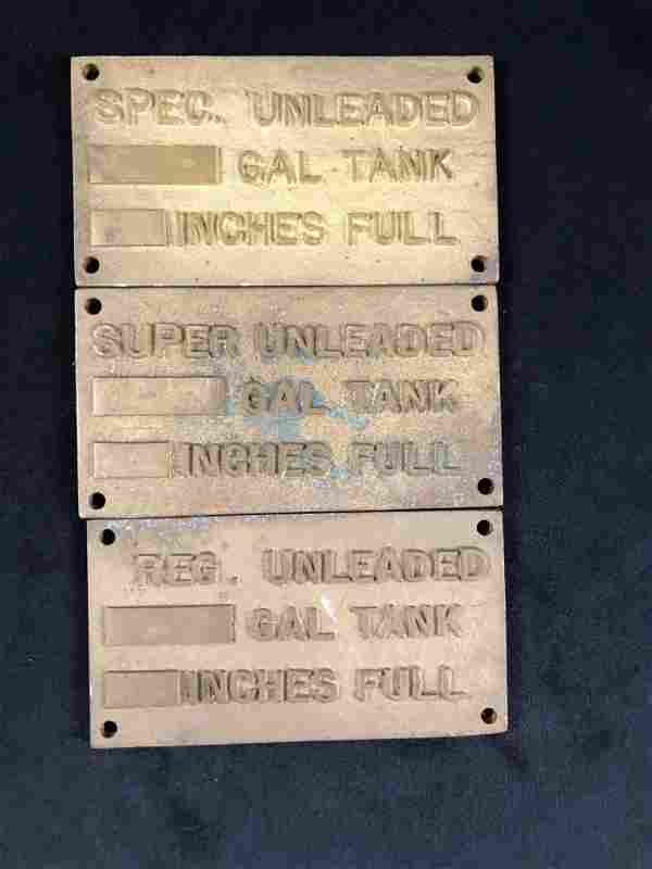 Vintage Gas Tank Plates Metal Gold Unleaded Signs Gas