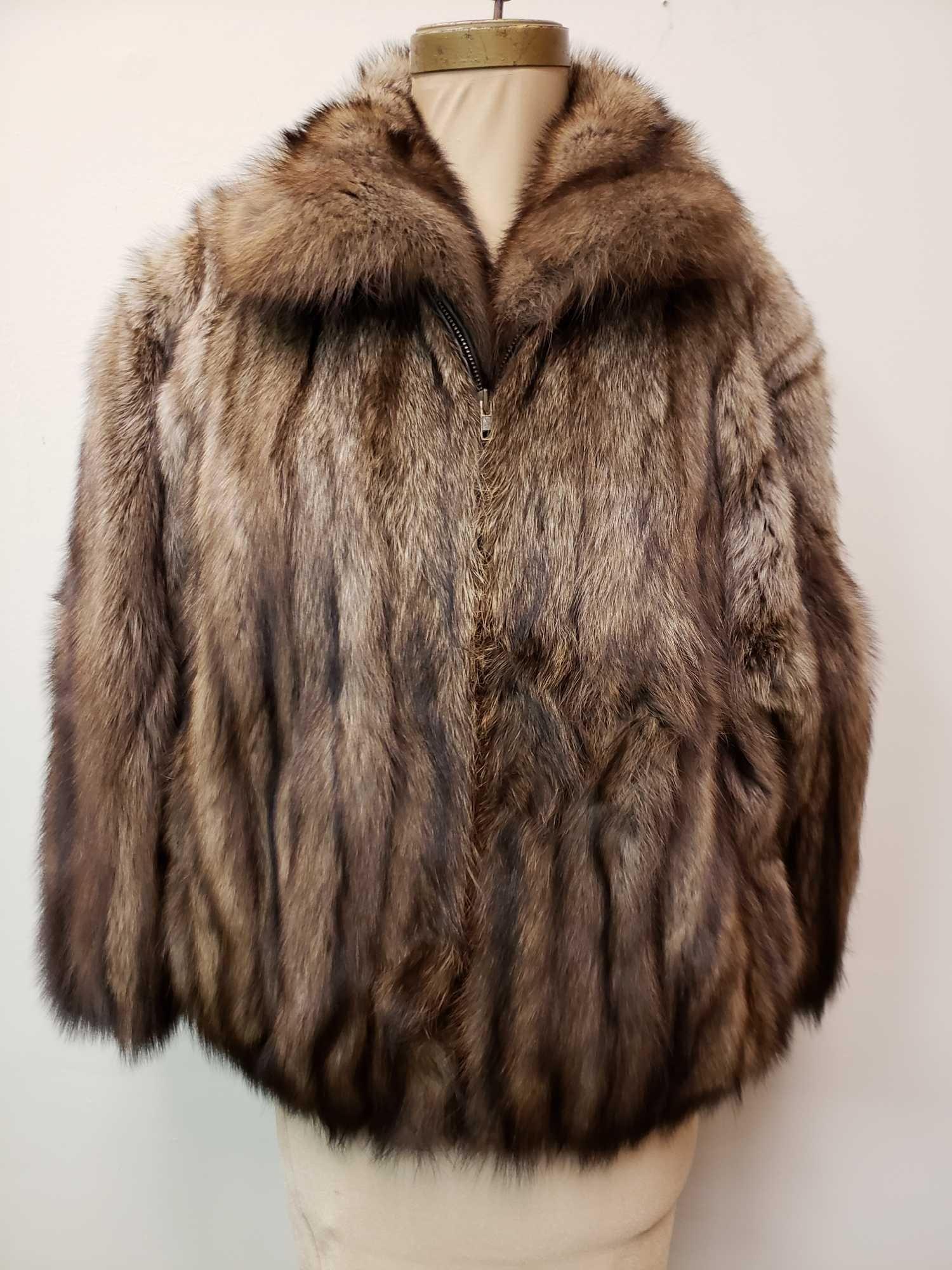 Zip Up Mid Length Fisher Fur Coat