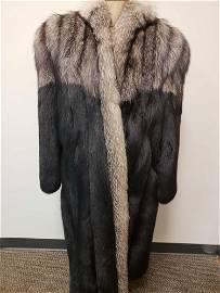 Black and Silver Fox Full Length Fur Coat