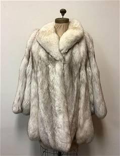 Blue Fox Fur Coat Jacket Vintage Fashion