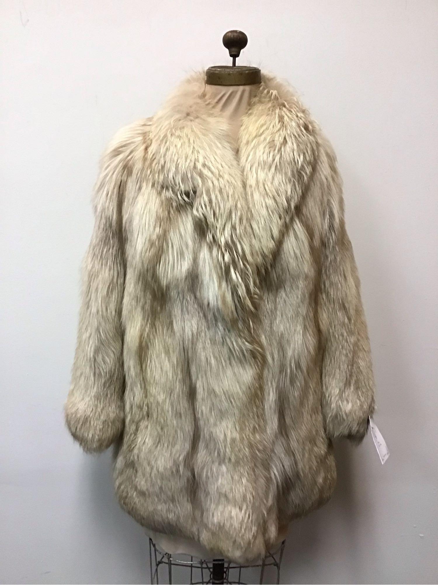 Beige Oxidized Fox Fur Coat Jacket Vintage Fashion