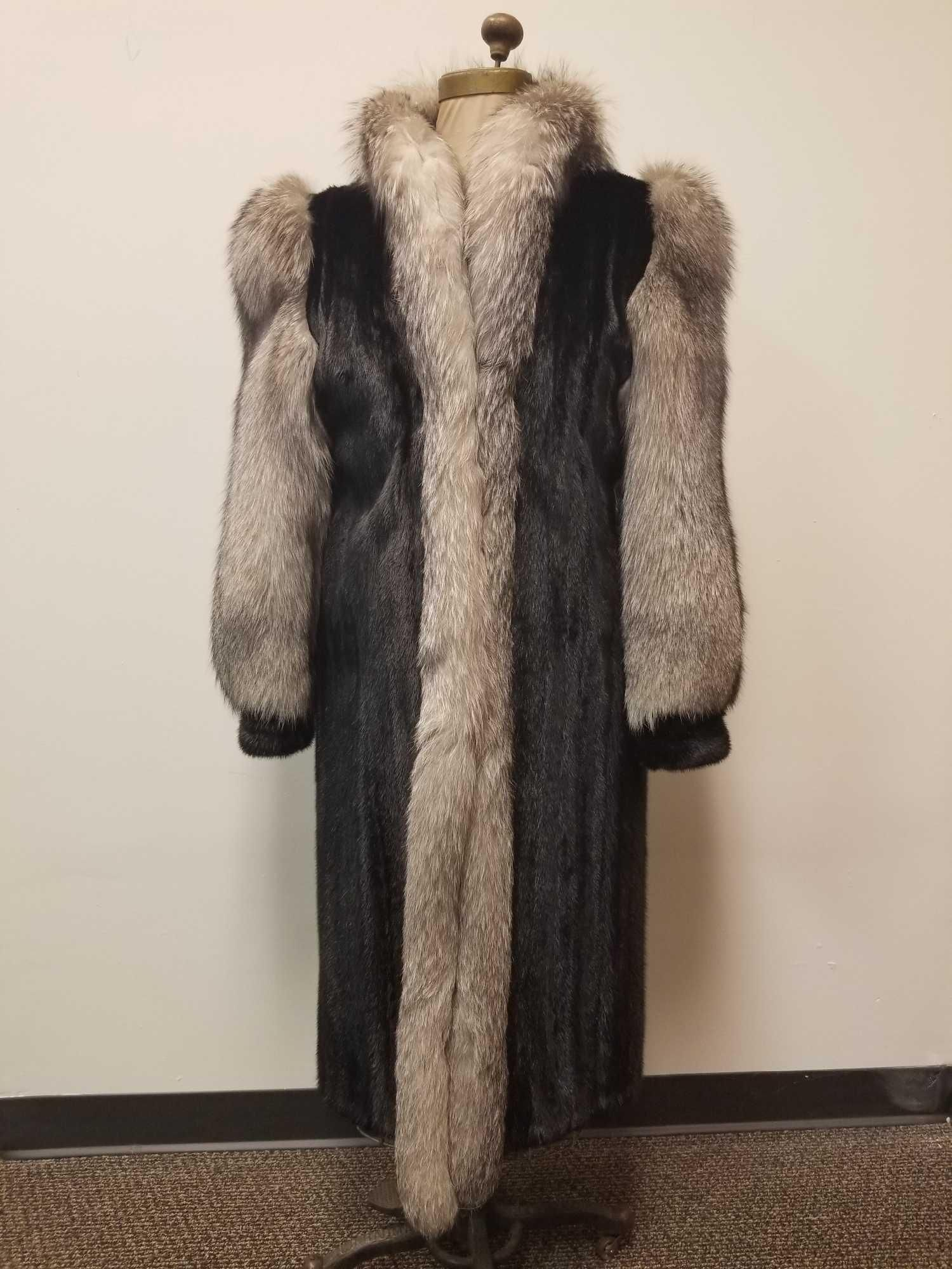 Hudsons Fur Salon Full Length Mink with Fox Fur Coat
