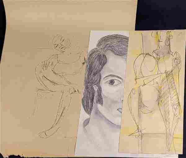 Vintage Lot Of Three Pencil Sketches