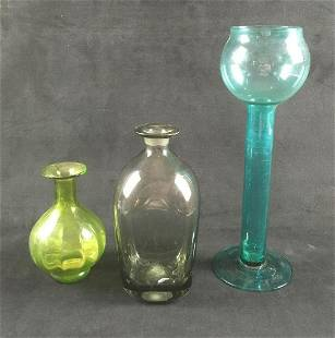Set of 3 Colored Glass Vases