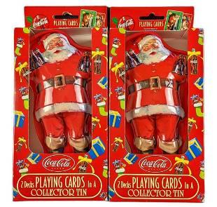 Coca Cola Christmas Santa Tin 4 Decks Of Playing Cards