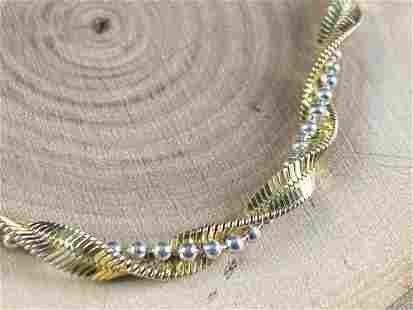 Vintage Sterling Two Tone Beaded Twist Bracelet