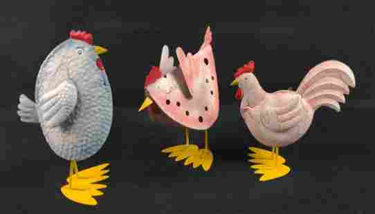 Three Tin Hand Painted Chickens Kitchen Art Candle
