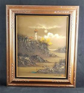 Vintage Chen Mao Acrylic Painting With Horsehair