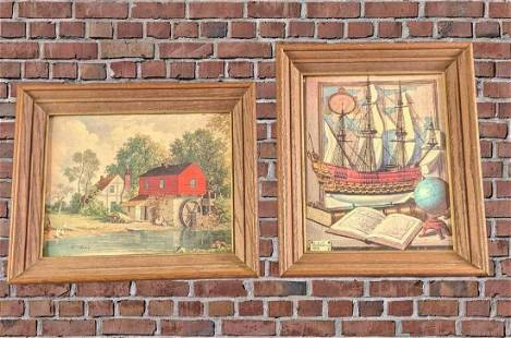 Vintage 1950s Framed Nautical & Water Mill Prints