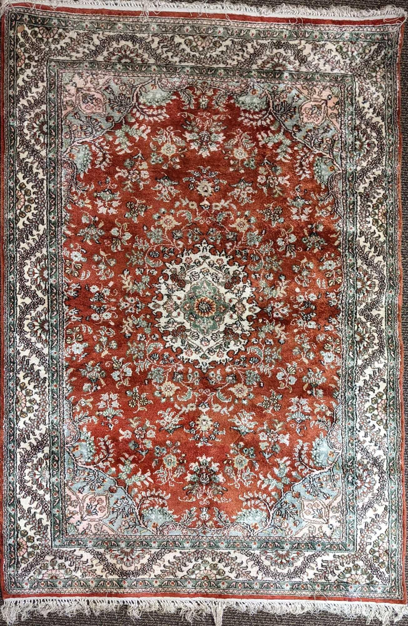 """Afghan Hand Knotted Wool Rug 68"""" x 47""""."""
