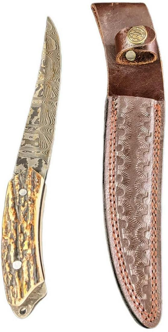Retired Damascus Steel Fixed Knife With Deer Antler