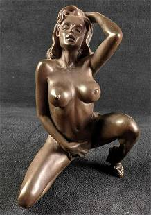 Bronze Statue of Exotic Naked Confident Lady