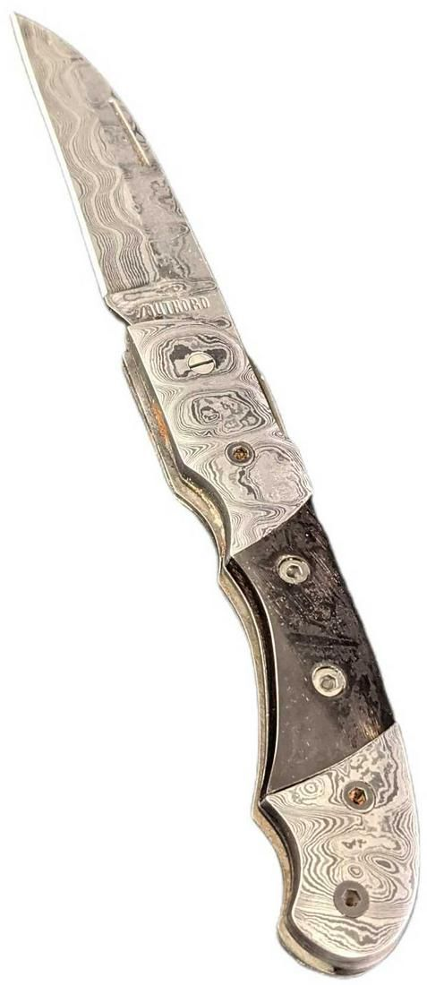 Damascus Steel Fold Up Black Horn Handle Knife Retired