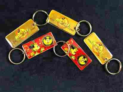 Lot Of 5 Vintage Disneyland Keychains 1988 Disneyana