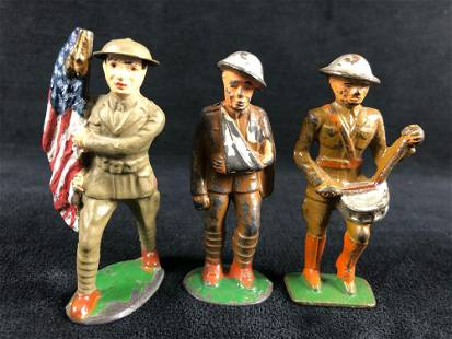 """Antique Cast Iron Hand Painted WWII 2"""" Soldiers Wounded"""