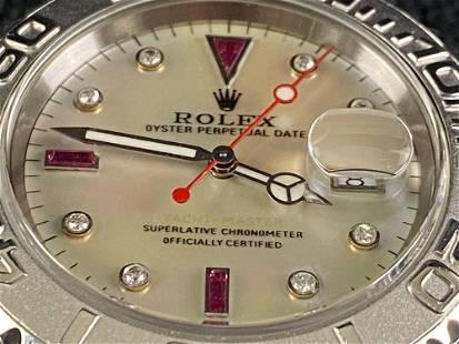 Rolex Yacht-Master Steel & Platinum Ruby Diamond Dial