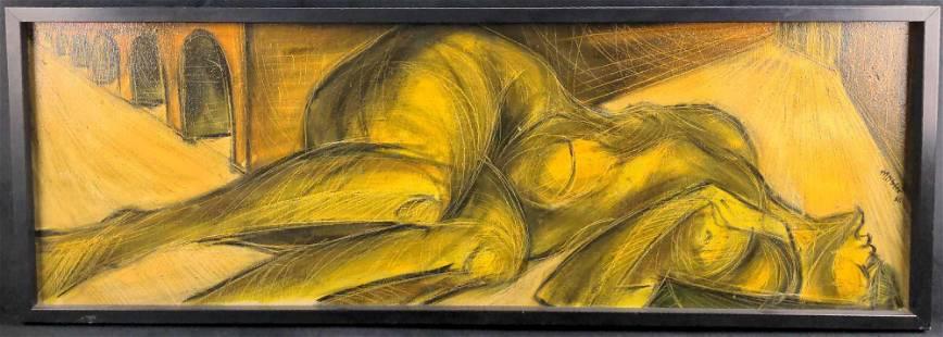 Oil On Canvas Nude Woman Moshe