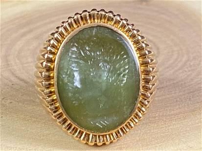 Custom Antique Julius Caesar 18K Gold Jade Cameo Signet