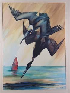 Original Diving Pelicans Watercolor by Ed Bookhardt