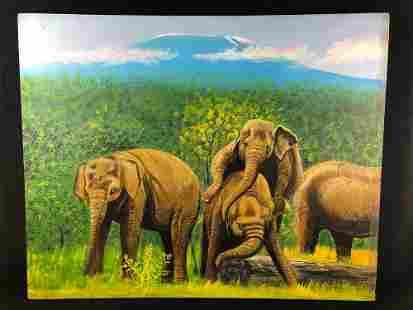 Original East Africa Artist Signed Seti Elephants