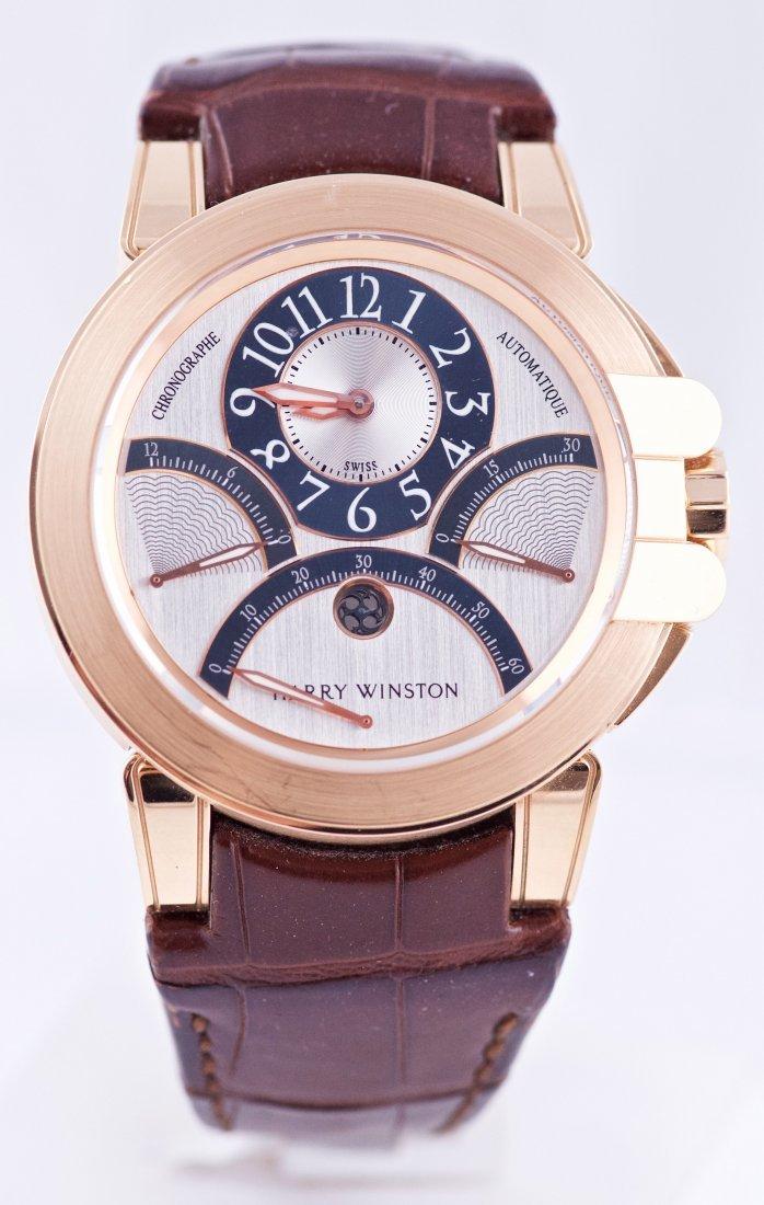 Harry Winston Ocean Triple Retrogarde 18k Gold Watch