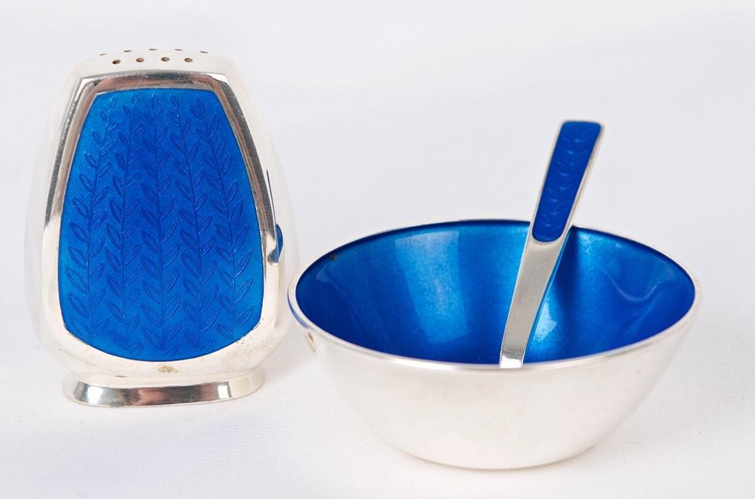 Anton Michelsen, Blue enamel sterling silver small - 4