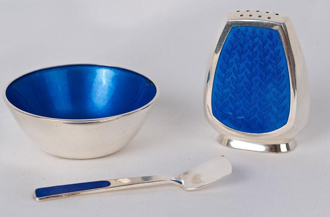 Anton Michelsen, Blue enamel sterling silver small - 5
