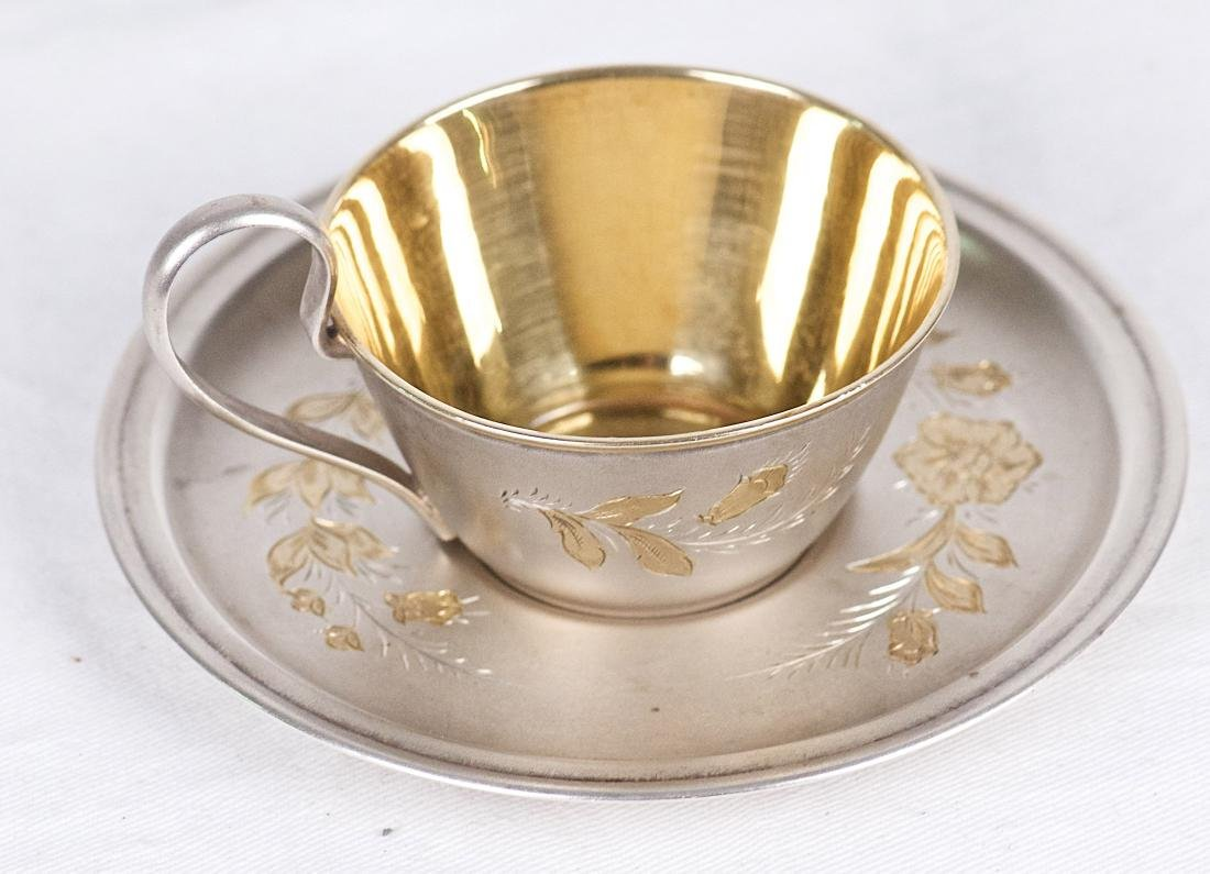 Unknown .875 silver cup and saucer, gilt inside, - 2