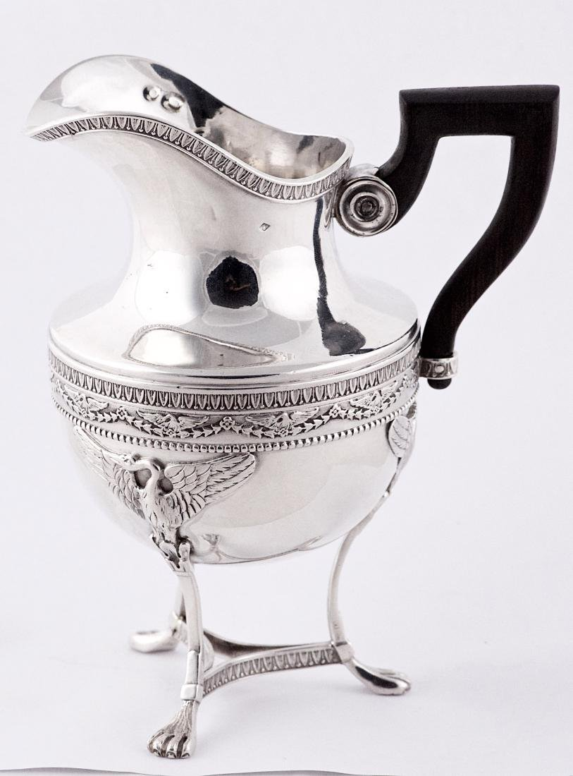 Charles Forgelot, .950 silver saucier and ebony handle,