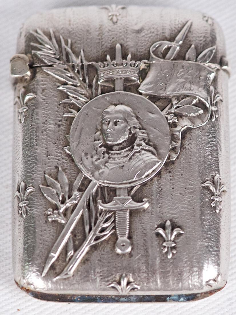 Charles Murat , .950 silver Joan of Arc vesta case, - 3