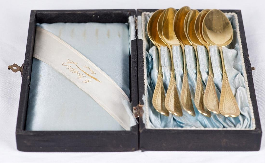 Prudent Quitte, Set of six .800 silver gilt spoons, - 4