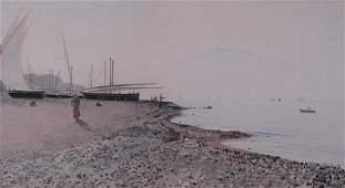 Monteforte, Edoardo - Scène de plage et bateaux