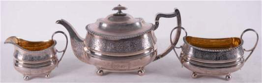 George Fenwick - Sterling silver teapot, sugar pot and