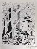 Edgar P. Jacobs - Signed Blake et Mortimer lithograph -