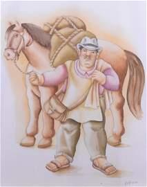 Botero, Fernando - Hombre con caballo - 2006