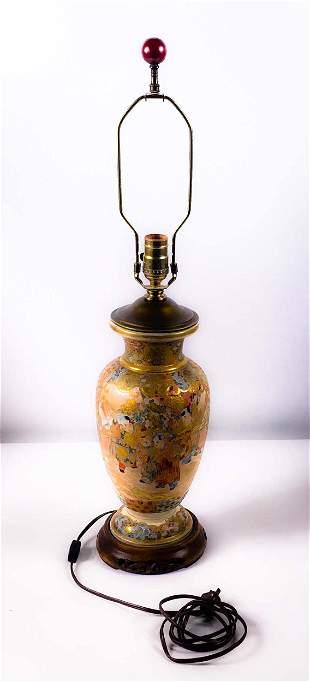 Satsuma porcelain lamp - c.1950