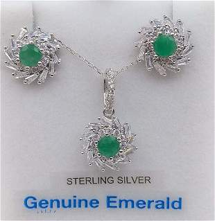Sterling silver earrings and pendant with emeralds and