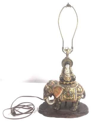 Satsuma enameled porcelain lamp, Buddha on an elephant