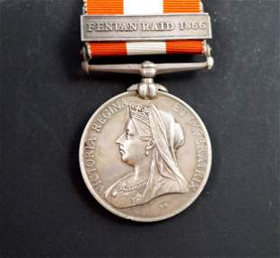 CANADA 1866 General Service Medal Named Extra Fine