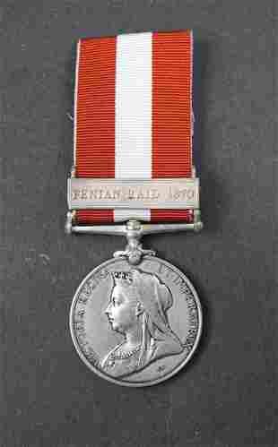 CANADA 1870 Finian Raid Medal Named w/ribbon EF
