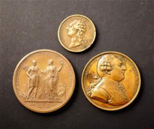 FRANCE 1791-1798 A lot of 3 Louis XVI and Award Medals