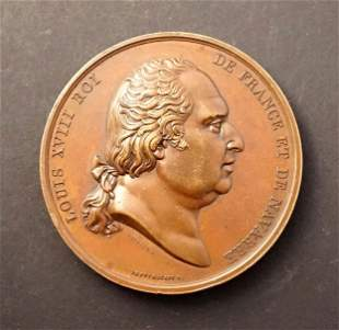 FRANCE 1814 Louis XVIII by Gayrand w/Minerva reverse by