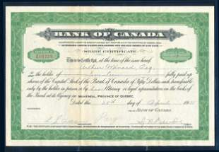 CANADA 1935 Bank of Canada Share Certificate Dated