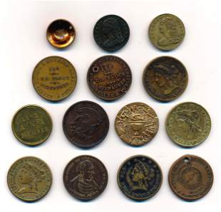 US MERCHANT TOKINS 1850-1941 A Lot of 14 Pieces All