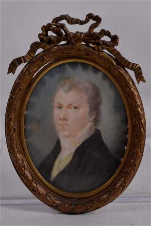 Antique miniature portrait of a gentleman - c.1800