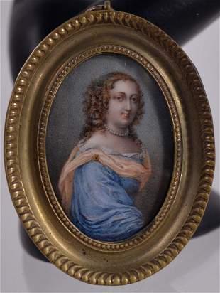 Antique miniature portrait of a lady - c.1800