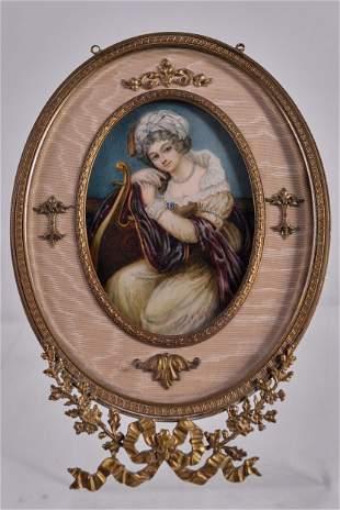 Antique miniature portrait of a noble lady - c.1800