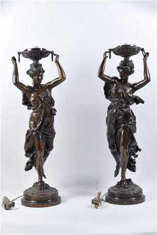Carrier-Belleuse, Albert-Ernest - Pair of bronze floor